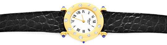Foto 1, Chopard Damen Uhr Gelbgold Diamanten Safire Topuhr Neuz, U1227