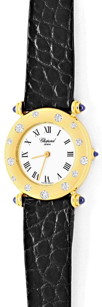 Foto 2, Chopard Damen Uhr Gelbgold Diamanten Safire Topuhr Neuz, U1227