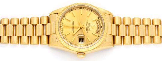 Foto 1, Rolex Daydate Automatik Day Date Gold Präsident Geprüft, U1233
