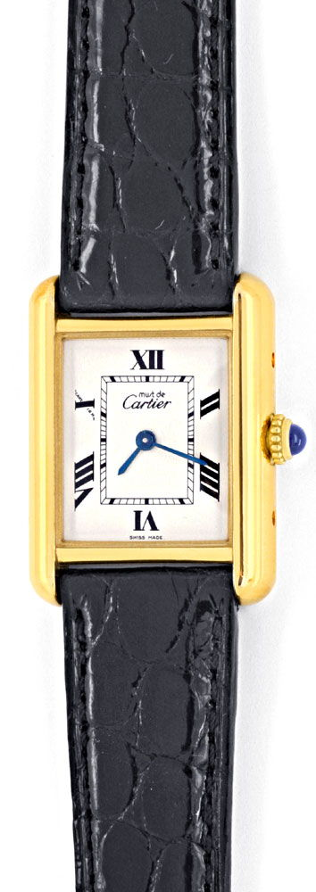 Foto 2, Tank Must.de Cartier Golden Kroko Falt Schliesse Topuhr, U1237