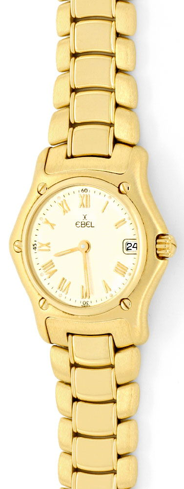 Foto 2, Ebel 1911 Damen Armbanduhr Gelb Gold Geprüft Neuzustand, U1251
