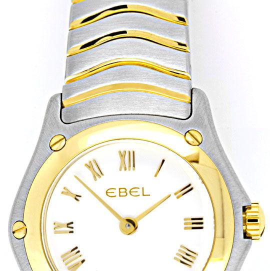 Foto 4, Neue Ebel Classic Wave Mini Damenuhr Stahlgold Q Topuhr, U1260