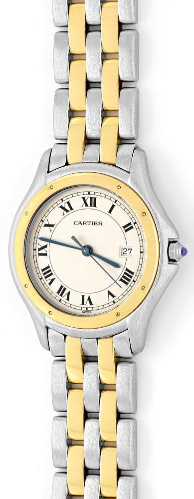 Foto 2, Panthere Cougar de Cartier Herrenuhr mit 2Streifen Gold, U1262