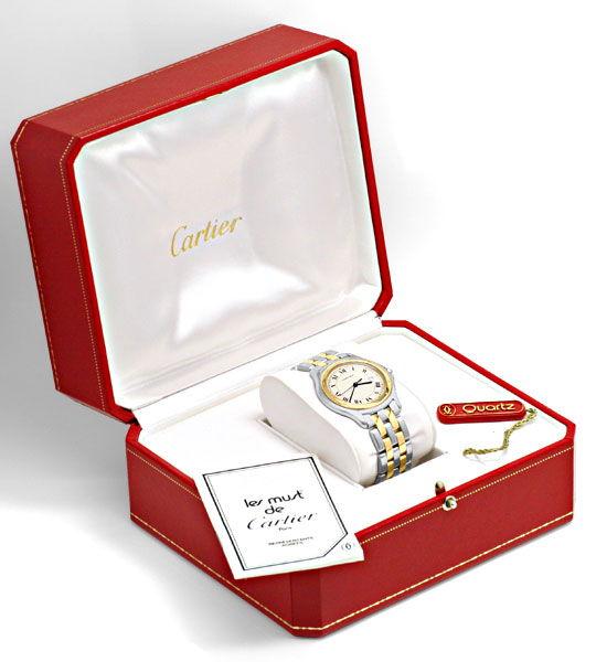 Foto 6, Panthere Cougar de Cartier Herrenuhr mit 2Streifen Gold, U1262