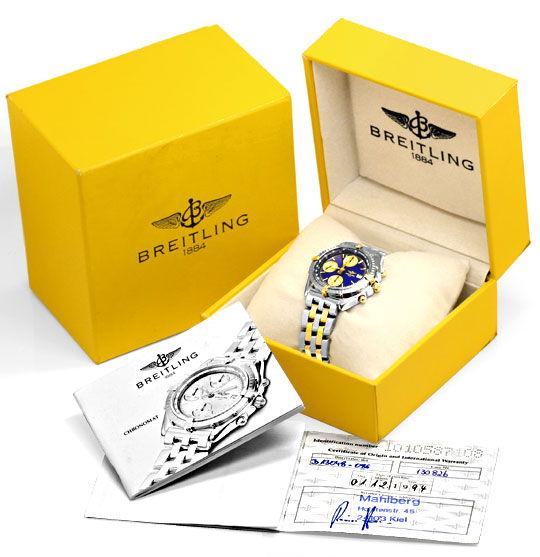Foto 5, Breitling Windrider Chronomat Pilot Band St Gold Topuhr, U1266