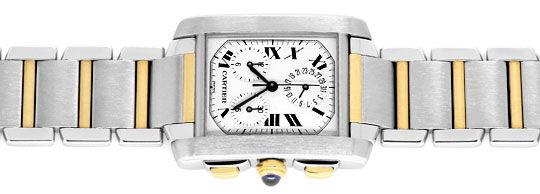 Foto 1, Hr Cartier Tank Francaise Chronograph Stahl Gold Topuhr, U1271