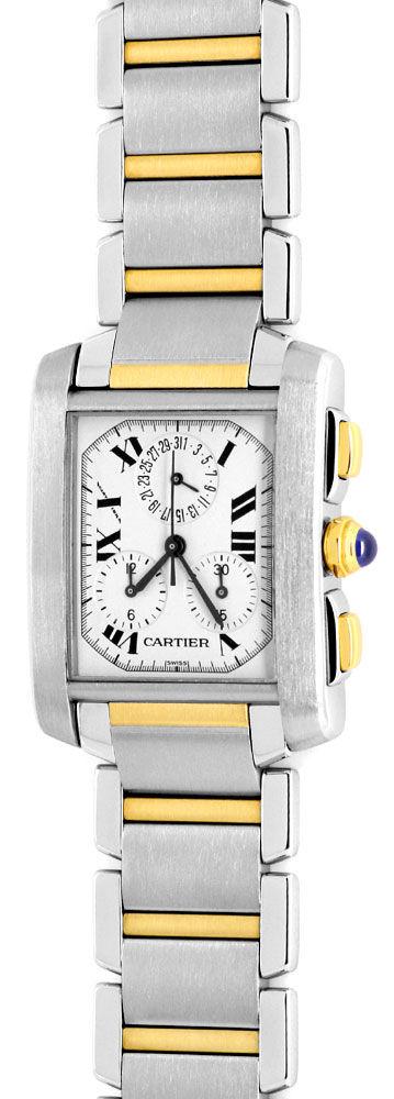 Foto 2, Hr Cartier Tank Francaise Chronograph Stahl Gold Topuhr, U1271