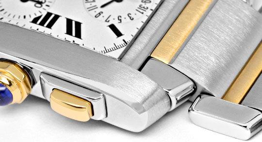 Foto 4, Hr Cartier Tank Francaise Chronograph Stahl Gold Topuhr, U1271