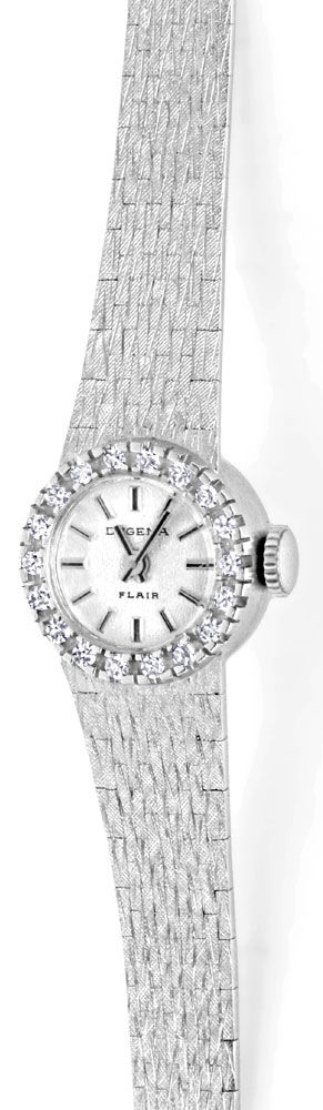 Foto 2, Dugena Damen Diamant Armbanduhr 0,40ct Weissgold Topuhr, U1274