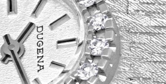 Foto 3, Dugena Damen Diamant Armbanduhr 0,40ct Weissgold Topuhr, U1274