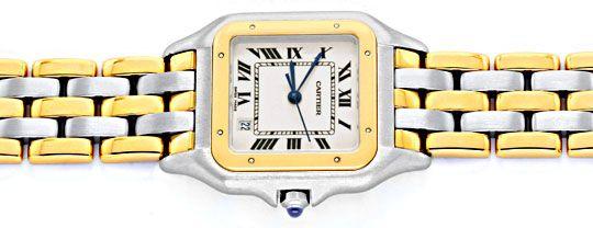 Foto 1, Cartier Panthere Herren Uhr, drei Streifen Gold, Topuhr, U1278