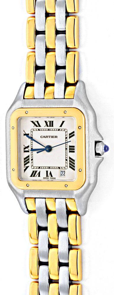 Foto 2, Cartier Panthere Herren Uhr, drei Streifen Gold, Topuhr, U1278