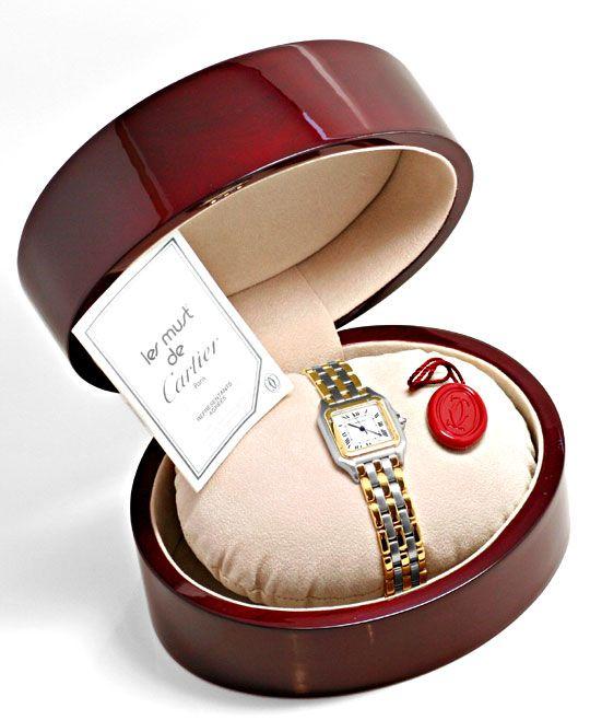 Foto 5, Cartier Panthere Herren Uhr, drei Streifen Gold, Topuhr, U1278