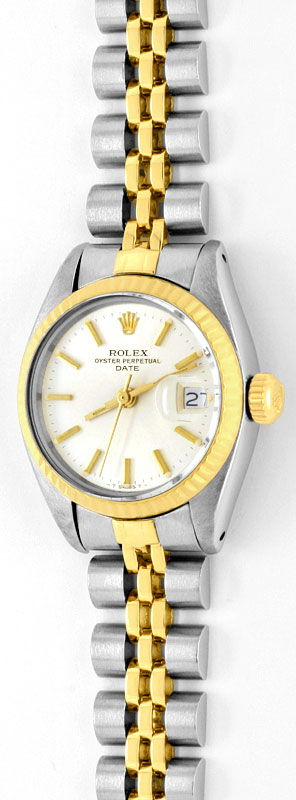 rolex date damen uhr stahl gold oyster perpetual topuhr u1286. Black Bedroom Furniture Sets. Home Design Ideas