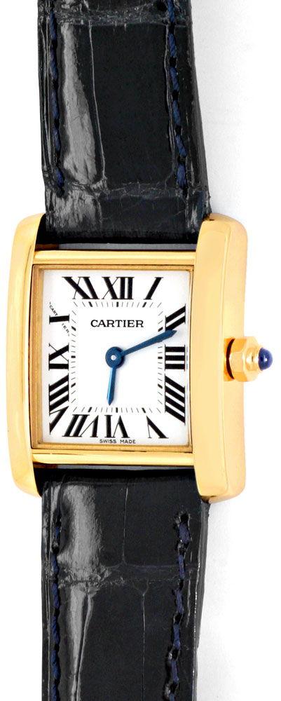 Foto 2, Cartier Tank Francaise Damen Armbanduhr Gelbgold Topuhr, U1289