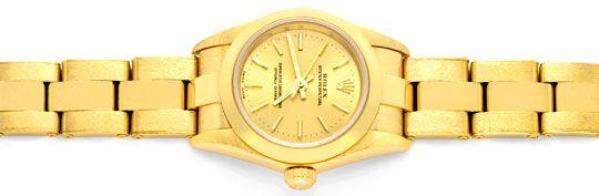 Foto 1, Rolex Gelbgold Damen Armbanduhr Oyster Perpetual Topuhr, U1293