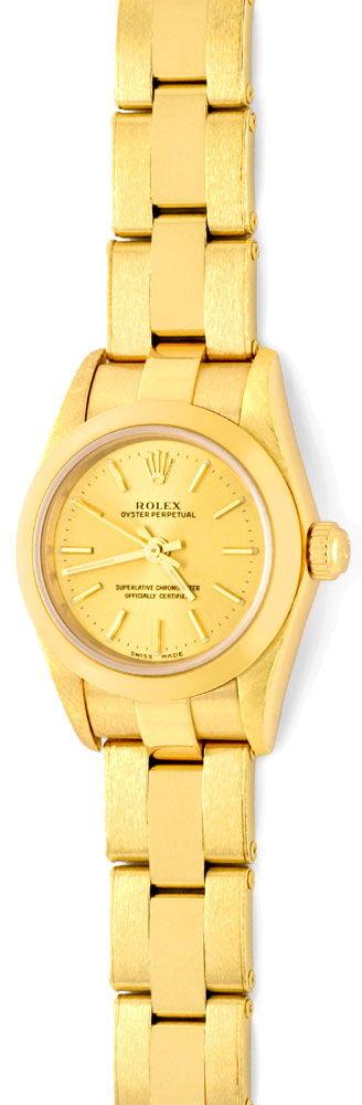 Foto 2, Rolex Gelbgold Damen Armbanduhr Oyster Perpetual Topuhr, U1293