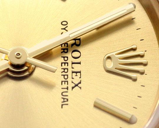 Foto 3, Rolex Gelbgold Damen Armbanduhr Oyster Perpetual Topuhr, U1293
