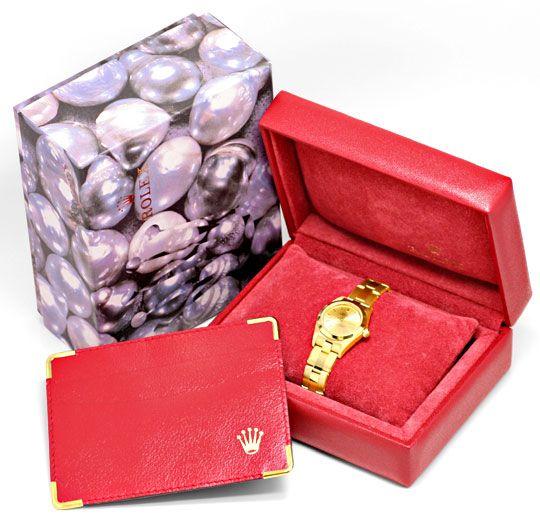 Foto 8, Rolex Gelbgold Damen Armbanduhr Oyster Perpetual Topuhr, U1293