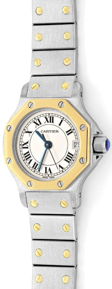 Foto 2, Cartier Santos Ronde 8 Eckig Damenuhr Stahl Gold Topuhr, U1295