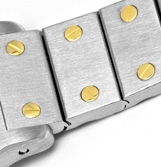 Foto 4, Cartier Santos Ronde 8 Eckig Damenuhr Stahl Gold Topuhr, U1295