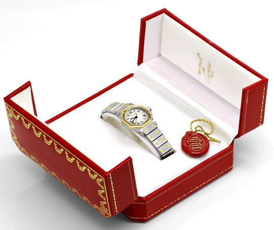 Foto 6, Cartier Santos Ronde 8 Eckig Damenuhr Stahl Gold Topuhr, U1295