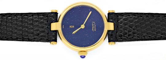 Foto 1, Damen Uhr VLC Vendome Louis Cartier Silber Lapis Topuhr, U1297