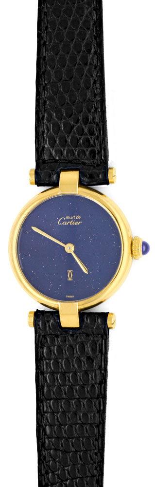 Foto 2, Damen Uhr VLC Vendome Louis Cartier Silber Lapis Topuhr, U1297