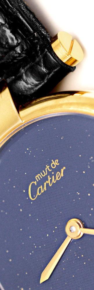 Foto 3, Damen Uhr VLC Vendome Louis Cartier Silber Lapis Topuhr, U1297