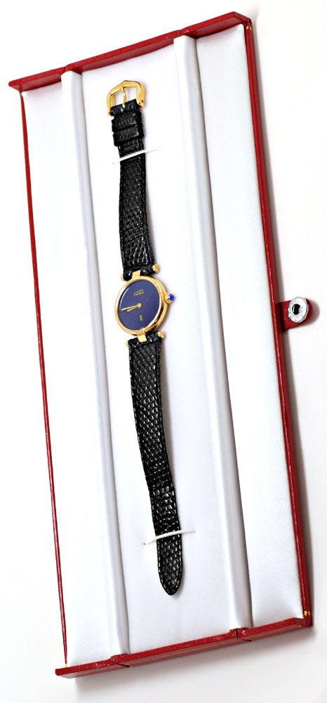 Foto 5, Damen Uhr VLC Vendome Louis Cartier Silber Lapis Topuhr, U1297