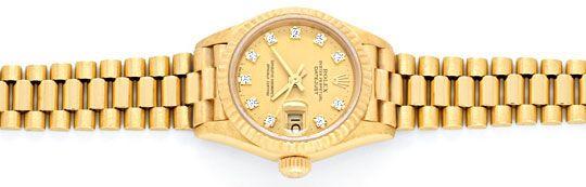 Foto 1, Rolex Datejust Damenuhr Gold Diamantzifferblatt Geprüft, U1301