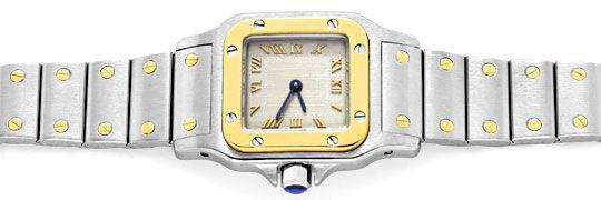 Foto 1, Cartier Santos Galbee Damen Armbanduhr Stahlgold Topuhr, U1306