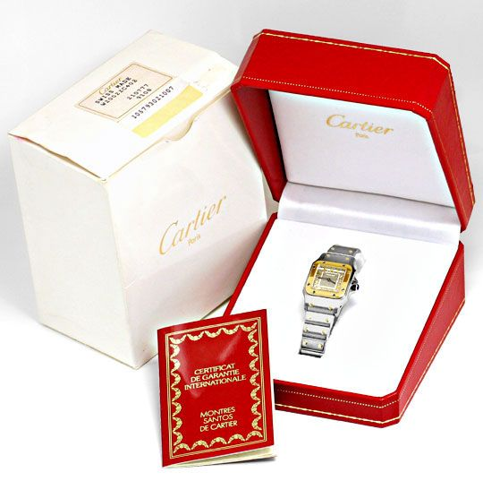 Foto 8, Cartier Santos Galbee Damen Armbanduhr Stahlgold Topuhr, U1306