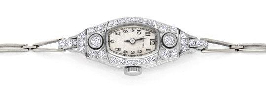 Foto 1, Art Deco Longines Diamanten Damenuhr Platin Gold Topuhr, U1307