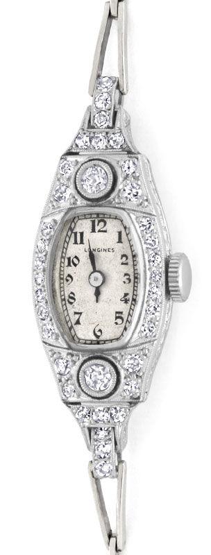 Foto 2, Art Deco Longines Diamanten Damenuhr Platin Gold Topuhr, U1307