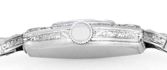 Foto 3, Art Deco Longines Diamanten Damenuhr Platin Gold Topuhr, U1307