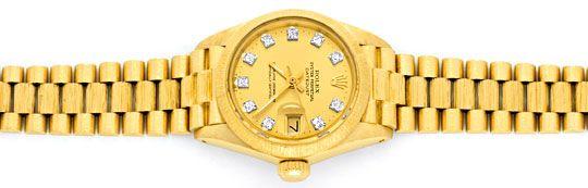 Foto 1, Rolex Damen Armbanduhr Gold Diamant Zifferblatt Geprüft, U1309