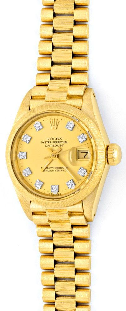 Foto 2, Rolex Damen Armbanduhr Gold Diamant Zifferblatt Geprüft, U1309