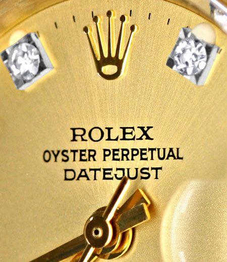 Foto 3, Rolex Damen Armbanduhr Gold Diamant Zifferblatt Geprüft, U1309
