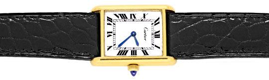 Foto 1, Goldene Tank Must.de Cartier Kroko Faltschliesse Topuhr, U1317