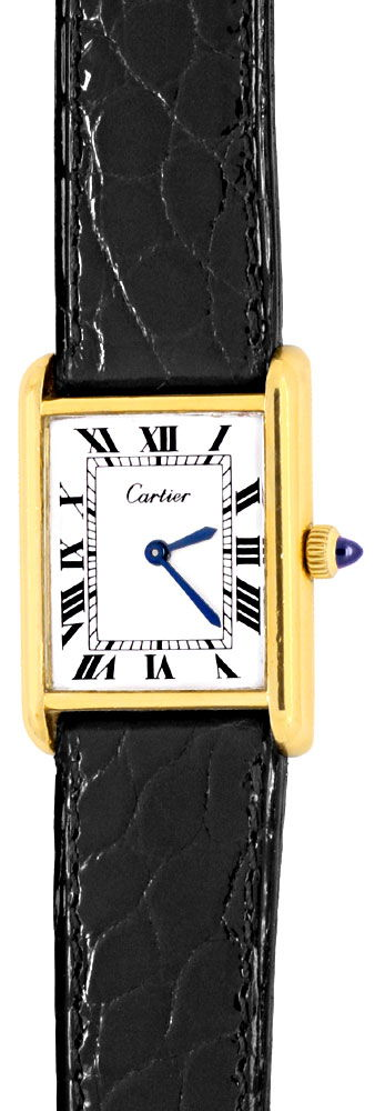 Foto 2, Goldene Tank Must.de Cartier Kroko Faltschliesse Topuhr, U1317