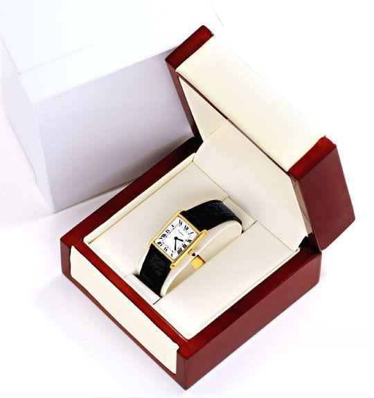 Foto 5, Goldene Tank Must.de Cartier Kroko Faltschliesse Topuhr, U1317