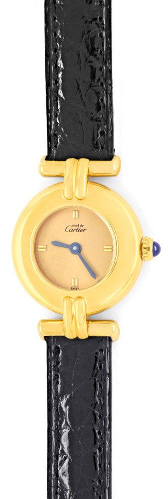 Foto 2, Cartier Colisee Damen Golden Kroko Faltschliesse Topuhr, U1318