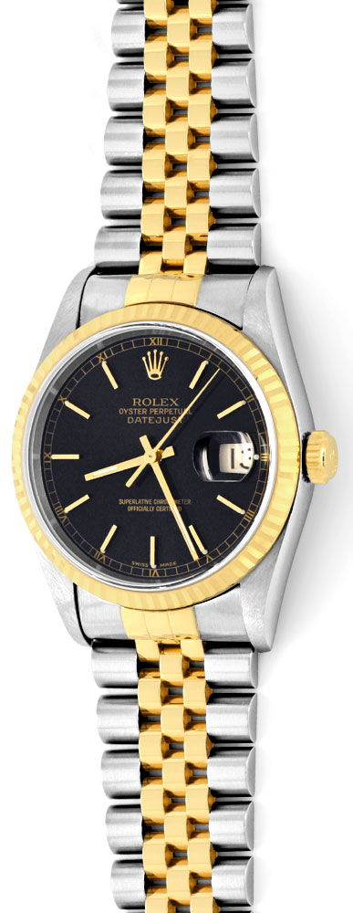 ungetragene rolex datejust herren uhr stahl gold topuhr u1329. Black Bedroom Furniture Sets. Home Design Ideas