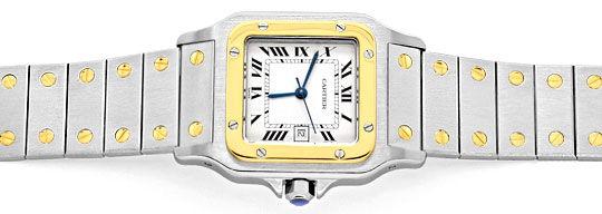 Foto 1, Santos de Cartier Automatik Herren Armbanduhr Stahlgold, U1331