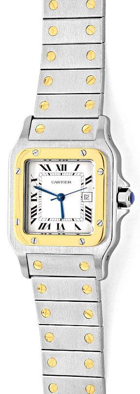 Foto 2, Santos de Cartier Automatik Herren Armbanduhr Stahlgold, U1331
