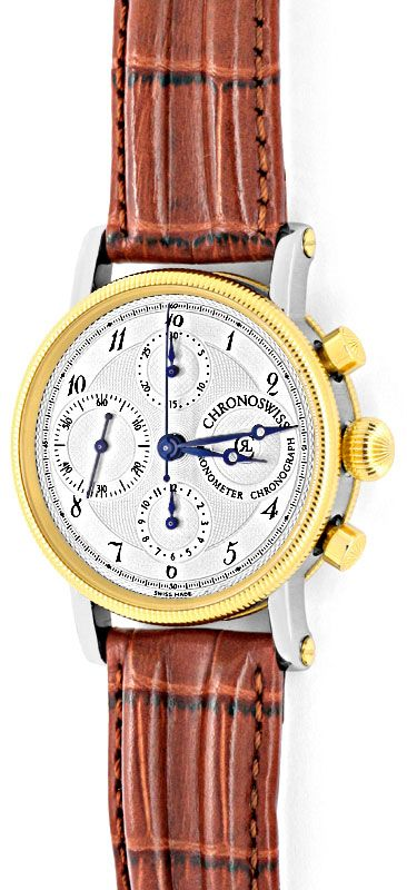 Foto 2, Chronoswiss Chronometer Chronograph Stahlgold Hr Topuhr, U1337