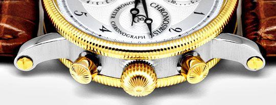 Foto 4, Chronoswiss Chronometer Chronograph Stahlgold Hr Topuhr, U1337