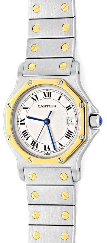 Foto 2, Cartier Santos Ronde 8 Eckig Herrenuhr Stahlgold Topuhr, U1341