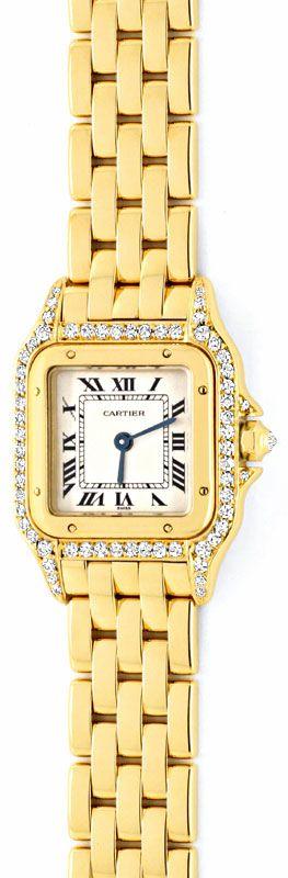 Foto 2, Cartier Panthere Damen Gold Org.Diamant Gehäuse Geprüft, U1349